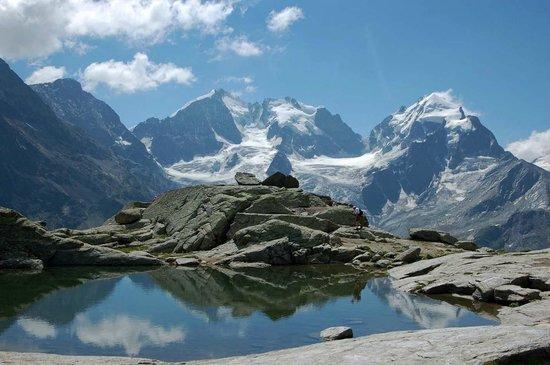Val Roseg: Piz Bernina von der Surley aus mit Bianco-Grat links im Bild
