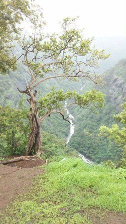 Shooting Point: view of a waterfall in the valley