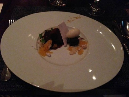Colicchio & Sons Tap Room: Final course: Chocolate cake, puffed rice, citrus, violet & almond milk