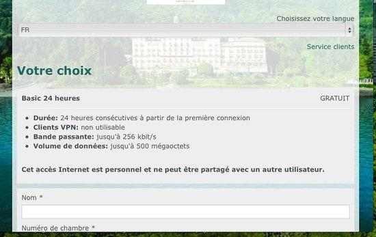 Grand Hotel Des Iles Borromees: Wi-Fi tres limité