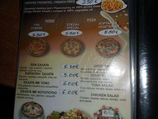 Billy's Bar: menu
