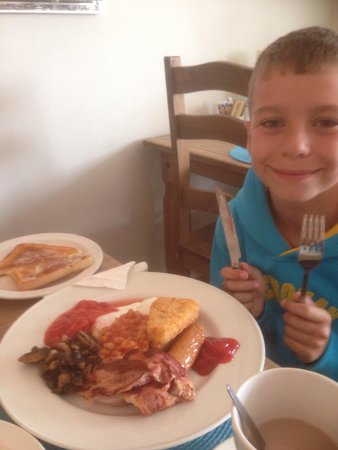 Looking forward to his big breakfast at The Stepping Stones.