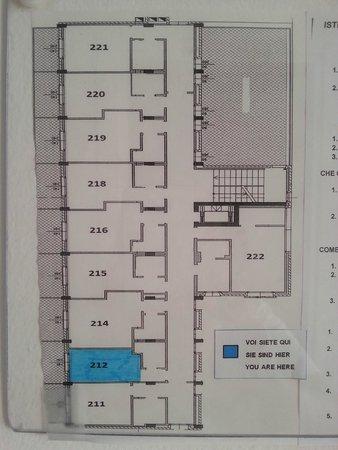 Hotel Stellamare: prospetto secondo piano. stanza 212 la piu' piccola