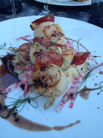 Restaurant Les Cèdres : Noix de Saint-Jacques au chorizo et son risotto crémeux