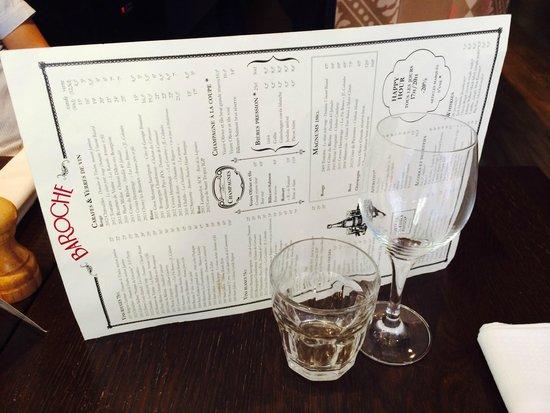 Brasserie Baroche : Carte Baroche