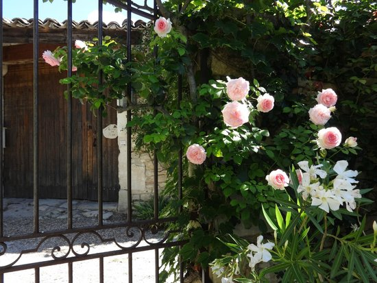 Le Mas des Roses : View of the wood front door from inside the courtyard where pool and 2 cottages are