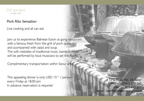Gong Restaurant - Balinese Cuisine: We invite you to join Pork Ribs Sensation every Friday evening