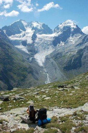 Piz Bernina : Gesamtblick mit Tschierva-Gletscher von der Fuorcla Surlej aus