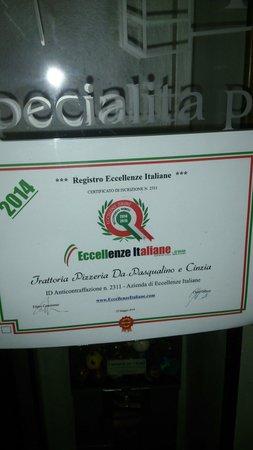 Certificato eccellenze italiane!!!