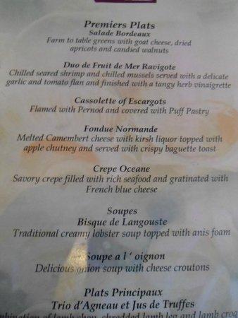 Secrets St. James Montego Bay : French Menu 1