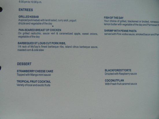 Secrets St James Montego Bay Room Service Menu
