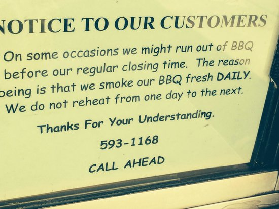 Dale's BBQ : not sure this ever happens!