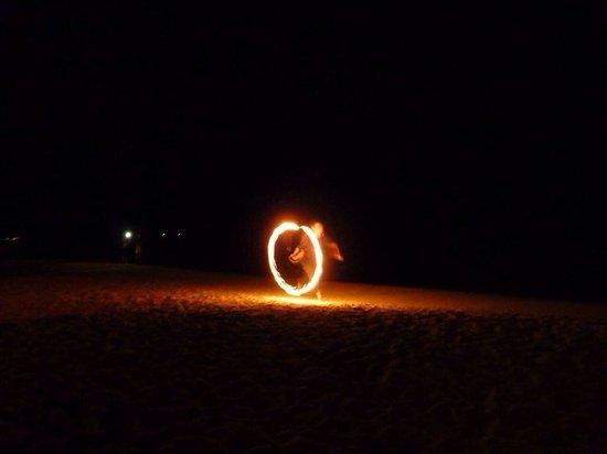 West Bay Beach: Fire show