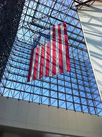 John F. Kennedy Presidential Museum & Library : Flag in atrium
