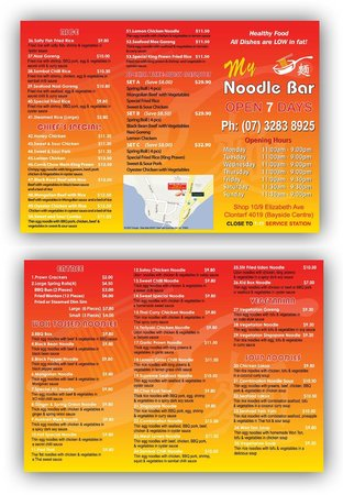 Clontarf, Australia: menu