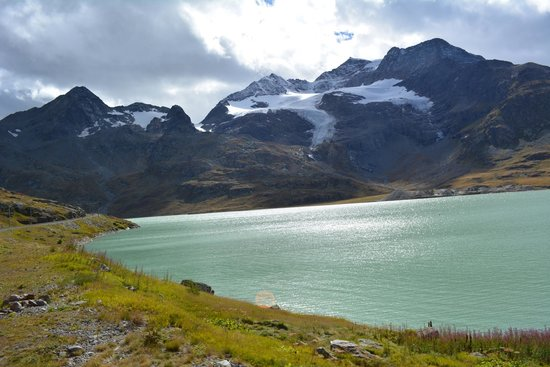 Lago Bianco, view from the Bernina Express train