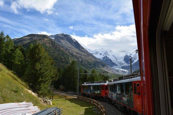 Pontresina and the Roseg Glacier, view from the Bernina Express train