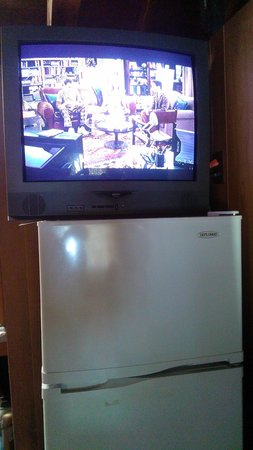 Isaiah Tubbs Resort: tv on fridge double's as a tv stand