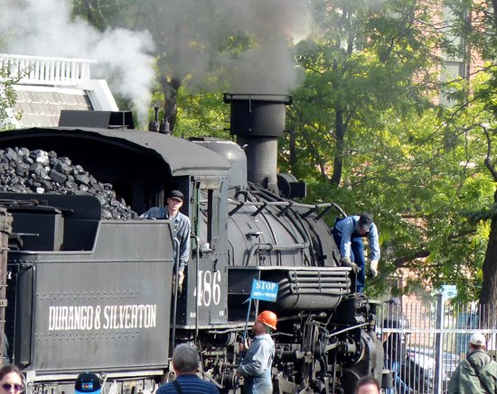 Durango and Silverton Narrow Gauge Railroad and Museum : the engine before leaving Durango