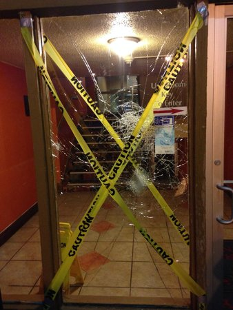 Days Inn Toledo: Woke up to find this had happened the night before. Huge fight broke out with other guests about