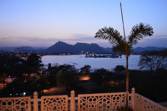 The Lalit Laxmi Vilas Palace Udaipur: Lake view from terrace, at dusk