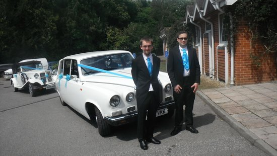 Mercure Tunbridge Wells: Groom and bestman at front of hotel