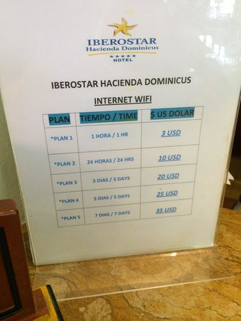 Iberostar Hacienda Dominicus : Prix internet mais accès gratuit a la réception.