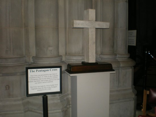 Washington National Cathedral: Cross made from the Pentagon on 9-11