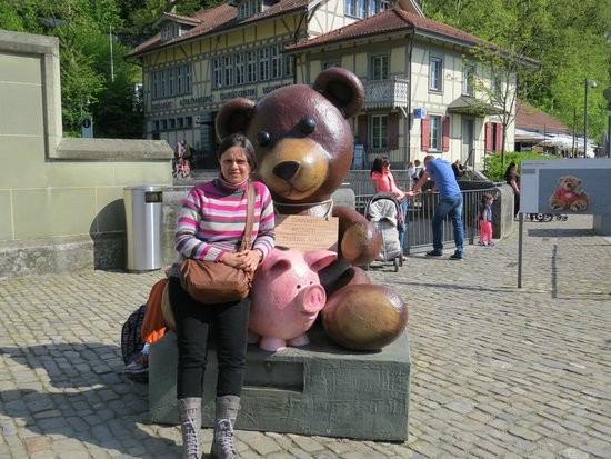 Bärenpark: myself near the bear park with a huge toy bear.