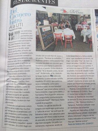 """Del Cocinero Bistro : Crítica en diario nacional """"El Mercurio"""", 18/07/14. El articúlo es congruente con mi propia opin"""