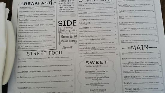 Licorish Bistro : menu
