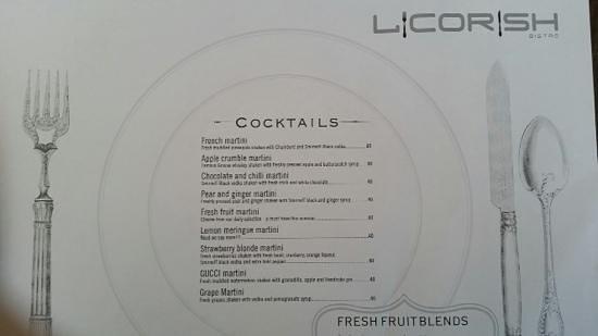Licorish Bistro : cocktail menu