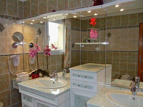 B&B Chambre d'hotes Les Noisetiers : Salle de bain chambre la Bléone