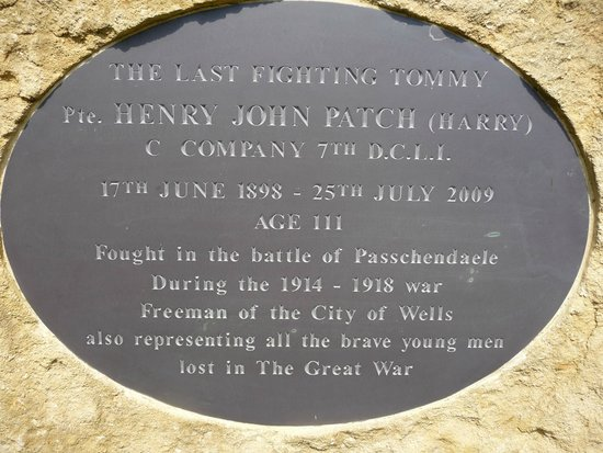 Wells Cathedral: Memorial plaque to Harry Patch