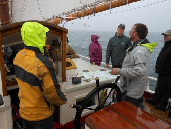 Schooner Stephen Taber Day Cruises: Rainy and foggy but everyone having a great time ! Don't forget your fowl weather gear ! Just in