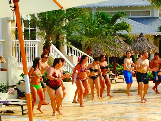 Luxury Bahia Principe Esmeralda Don Pablo Collection: Zumba class on the pool deck-FUN instructors!