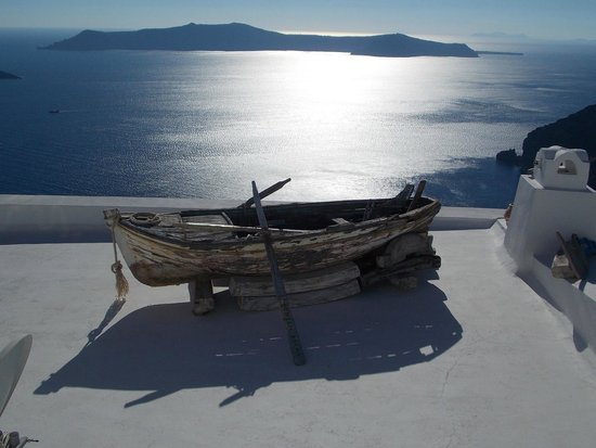 Margarita Hotel: Couché de soleil sur Therasia depuis Firostéfani