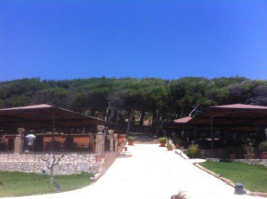 Baia di Ulisse Wellness & SPA: Вид с пляжа на территорию отеля