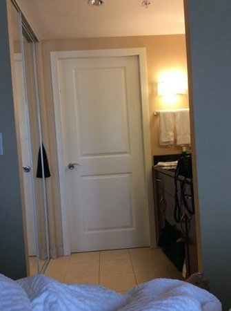 Residence Inn Toronto Downtown/Entertainment District: closet on left, basin on right and loo through the door