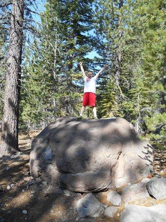 Lassen Volcanic National Park Hiking Trails : Volcanic boulder on walking tour