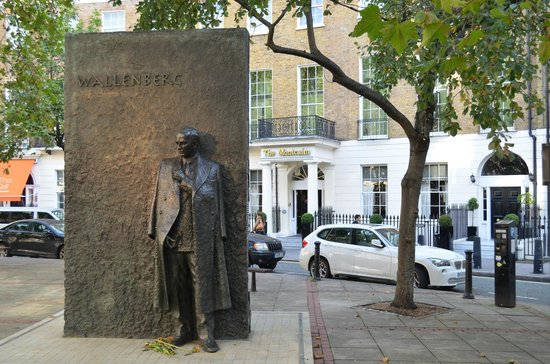 The Montcalm London Marble Arch: Wallenberg Memorial outside hotel entrance