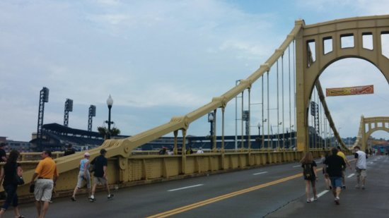 PNC Park: The Roberto Clemente bridge is closed to cars before and after the games.