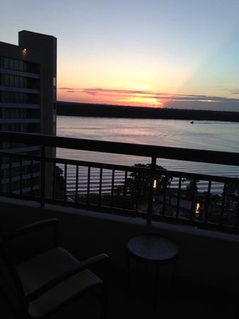 Bay Lake Tower at Disney's Contemporary Resort: sunrise from the 14th floor overlooking Bay Lake