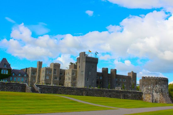 Ashford Castle: View of the back of estate, standing with the lake to our back