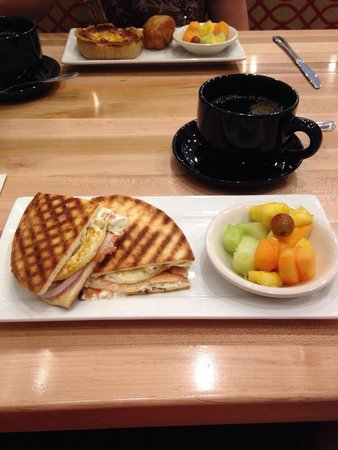 Popovers at Brickyard Square: My Salmon & Egg Panini! Very yummy. My wife's a Vegetable and Swiss Quiche! Both with a fruit di
