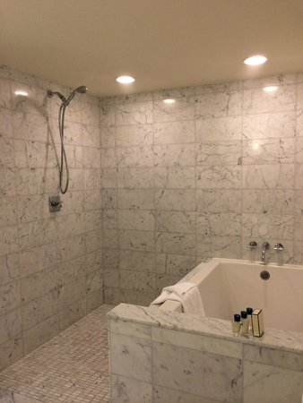 Trump International Hotel Waikiki: Shower tub combo! The shower is huge and is handy for washing all the sand off.