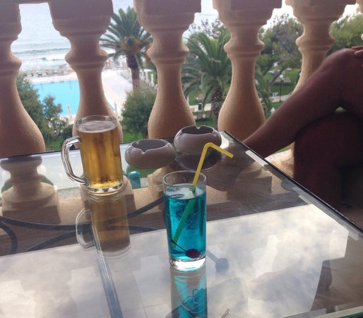 lti Louis Grand Hotel: Blue Lagoon cocktail which is one of the many free cocktails you can get if you go all inclusive