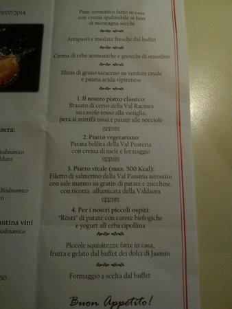 Alphotel Tyrol: tipo di menù serale