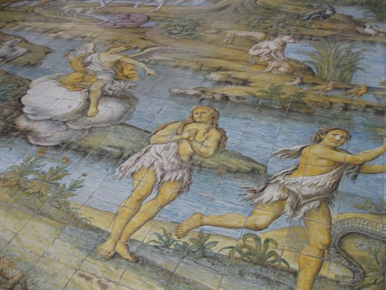 Chiesa San Michele: Adam and Eve being kicked out of the Garden of Eden by an angel