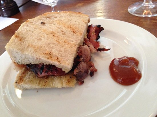 Eating London Food Tours: Bacon Sandwich goodness from St. John--try it with the ketchup!